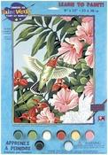 "Hummingbird & Fuchsias - Paint Works Paint By Number Kit 9""X12"""