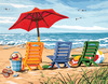 Beach Chair Trio - Paint By Number Kit 14 X11  DIMENSIONS-Paint Works Paint By Number Kit: Beach Chair Trio. Dimensions brings you paint kits that are fun and quick to paint. With their color mixing you will achieve the subtle tones that make their designs look so realistic.  Kit includes: pre-printed textured art board, high-quality acrylic paints, a paint brush, and easy to follow instructions.  Finished size: 11X14inches.  Frames and mats are not included.  Conforms to ASTM D4236.  Made in USA.