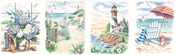 "Beach Scenes - Pencil Works Color By Number Kit 9""X12"" 4/Pkg"