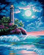 "Lighthouse In The Moonlight - Paint By Number Kit 16""X20"""