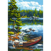 "Canoe By The Lake - Paint By Number Kit 14""X20"""