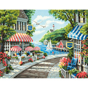 "Cafe By The Sea - Paint By Number Kit 11""X14"""
