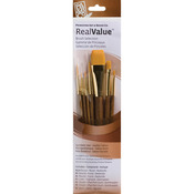 Real Value Brush Set Synthetic Gold Taklon - Round 5/0,0,5,liner 2,shader 2,8,wa
