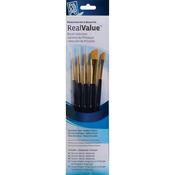 Real Value Brush Set Synthetic Gold Taklong - Rnd 2,4,liner 2/0,shader 2,6,ang 1