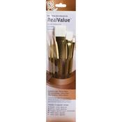 Round 1,4, Shader 6, Wash 5/8,1 - Real Value Brush Set Synthetic White Taklon