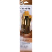 Round 4,8, Wash 1/2,1 - Real Value Brush Set Synthetic Gold Taklon