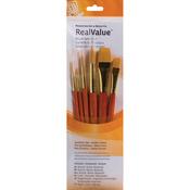 Rnd 1,6,12,Liner 2,Ang 1/2,Wash 3/4 - Real Value Brush Set Synthetic Gold Taklon