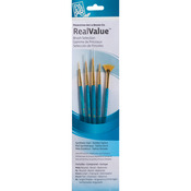 Real Value Brush Set Synthetic Gold Taklon - Round 3/0,3,Liner 20/0,Fan 12/0,Ang