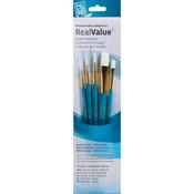 Round 3/0,2,4, Flat 2,6 - Real Value Brush Set Synthetic White Taklon