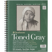 "Gray 80lb 50 Sheets - Strathmore Toned Sketch Book 9""X12"""