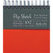 "100 Pages-Mandarin - Flip-Sketch Blank Spiral Sketch Book 6'x6"""