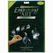 """Silver - Foil Engraving Art Blank Boards 8""""X10"""" 6/Pkg"""