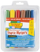 Primary - Scribbles Dual-Tip Permanent Fabric Markers 6/Pkg