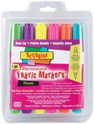Neon - Scribbles Dual-Tip Permanent Fabric Markers 6/Pkg
