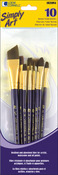 10/Pkg - Simply Art Brown Nylon Brush Set
