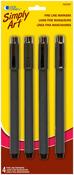 Black - Simply Art Fine Line Markers 4/Pkg