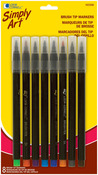 Assorted Colors - Simply Art Brush Tip Markers 8/Pkg