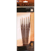 6/Pkg - Studio Elements Short Handle Golden Taklon Brush Set