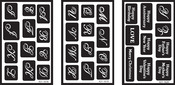 "Alphabet - Over 'N' Over Reusable Glass Etching Stencils 5""X8"" 3/Pkg"