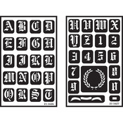"Old English Alphabet - Over 'N' Over Reusable Glass Etching Stencils 5""X8"" 2/Pkg"