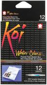Koi Watercolor Pocket Field Sketch Box, 12 Colors