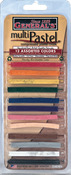 Assorted Colors - Multi Pastel Compressed Chalk Sticks 12/Pkg
