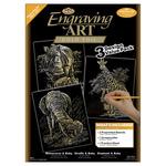 """Gold-Rhinoceros/Giraffe/Elephant - Foil Engraving Art Kit Value Pack 8.75""""X11.5"""""""