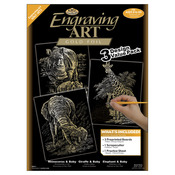 "Gold-Rhinoceros/Giraffe/Elephant - Foil Engraving Art Kit Value Pack 8.75""X11.5"""