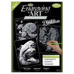 "Silver-Turtle/Sea Horse/Dolphins - Foil Engraving Art Kit Value Pack 8.75""X11.5"""
