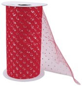 """Red - Silver Sparkle Tulle 6""""X25yd Spool"""