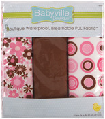 "Babyville PUL Waterproof Diaper Fabric 21""X24"" Cuts 3/Pkg - Mod Girl Flowers & D"