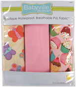 "Babyville PUL Waterproof Diaper Fabric 21""X24"" Cuts 3/Pkg - Sweet Stuff Butterfl"