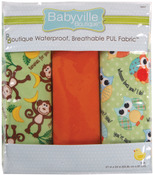 "Babyville PUL Waterproof Diaper Fabric 21""X24"" Cuts 3/Pkg - Playful Friends Monk"