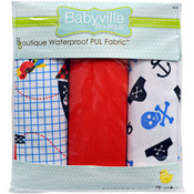 "Babyville PUL Waterproof Diaper Fabric 21""X24"" Cuts 3/Pkg - Little Pirate, Skull"
