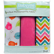 "Babyville PUL Waterproof Diaper Fabric 21""X24"" Cuts 3/Pkg - Little Birds, Chevro"
