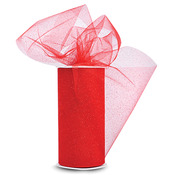 "Red W/Red Glitter - Glitter Tulle 6""X25yd Spool"