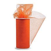 """Orange W/Orange Glitter - Glitter Tulle 6""""X25yd Spool"""