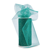 "Emerald Green W/Gold Glitter - Glitter Tulle 6""X25yd Spool"