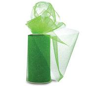 """Lime W/Silver Glitter - Glitter Tulle 6""""X25yd Spool"""