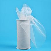 """White W/Silver Glitter - Glitter Tulle 6""""X25yd Spool"""