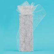"White W/Silver Glitter - Glitter Curves Tulle 6""X10yd Spool"