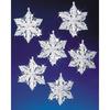 "Snow Crystals 3.5"" Makes 6 - Holiday Beaded Ornament Kit"