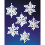 "Snow Crystals 3.5"" Makes 6 - Holiday Beaded Ornament Kit"