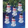 "Faceted Elegant Snowmen 2""X1"" Makes 12 - Holiday Beaded Ornament Kit"