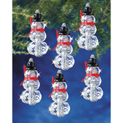 "Faceted Elegant Snowmen 2""X1"" Makes 12 - Holiday Beaded Ornament Kit"