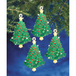 "Emerald Tree Twists 3.5"" Makes 4 - Holiday Beaded Ornament Kit"