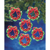 "Cranberry Wreath 2.25"" Makes 8 - Holiday Beaded Ornament Kit"