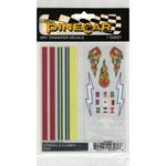 "Stripes & Flames - Pine Car Derby Dry Transfer Decal 4""X5"" Sheet"