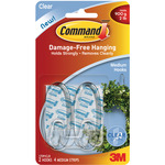 Clear 2 Hooks and 4 Strips - Command Medium Hooks