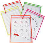 "Assorted Neon Colors - Reusable Dry Erase Pocket 9""X12"" 10/Pkg"